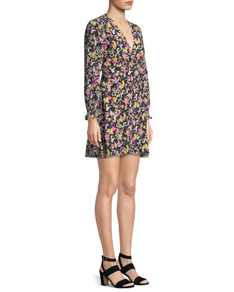 Eve Printed Long-Sleeve Mini Dress