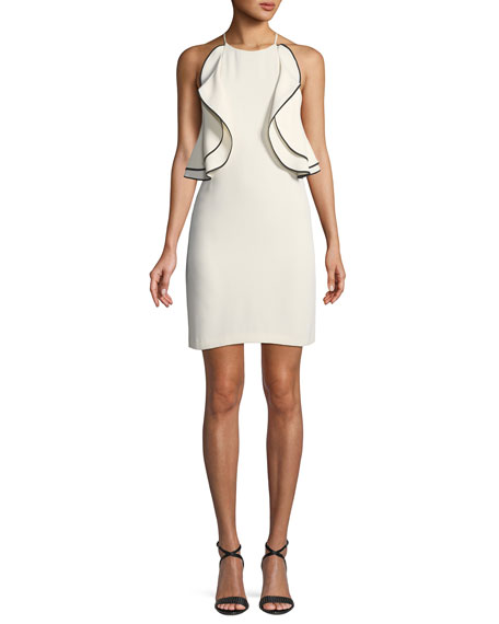 Ruffle-Front Halter Mini Cocktail Dress
