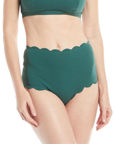 Santa Monica High-Waist Scalloped Swim Bikini Bottom