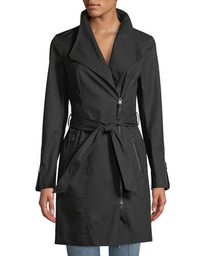 Estela Belted Trench Coat w/ Contrast Zippers