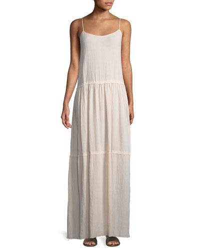 Scoop-Neck Sleeveless Cotton Gauze Maxi Dress
