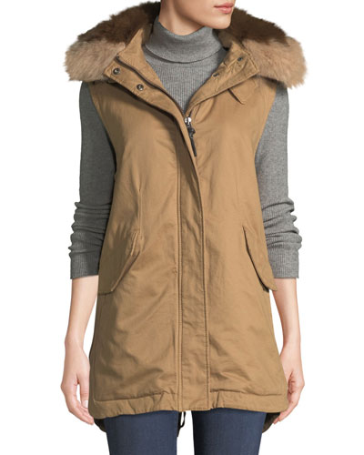 Utility Vest w/ Detachable Fur Hood