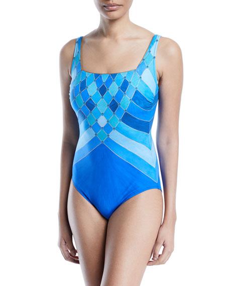GOTTEX Mystic Gem Squareneck One-Piece Swimsuit in Multi Blue