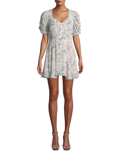 Cora Puff-Sleeve Floral Silk Mini Dress