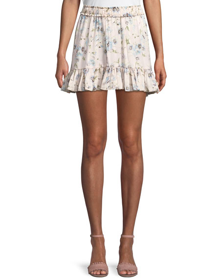 Carlotta Poppy-Print Silk Charmeuse Flounce Mini Skirt in Pink