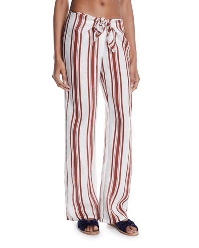 Kellen Striped Tie-Front Linen Beach Pants