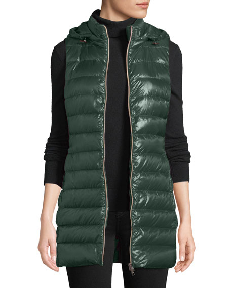QUILTED PUFFER VEST W/ DETACHABLE HOOD