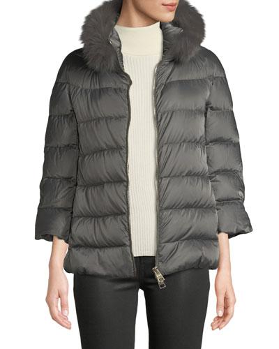 Fur-Collar Down-Fill Puffer Coat