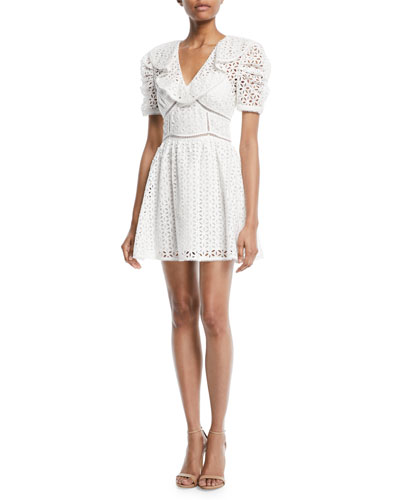 Broderie Anglaise Cotton Puff-Sleeve Mini Dress