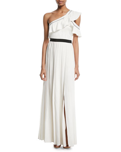 Pleated One-Shoulder Maxi Cocktail Dress