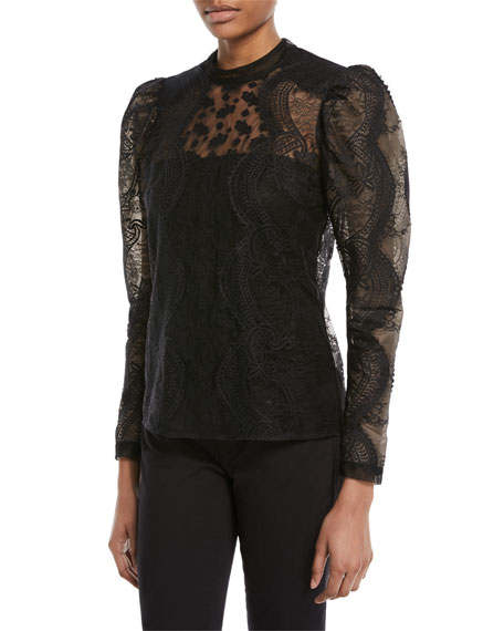 8a44f9d393fc Self-Portrait Scalloped Floral Lace Puff-Sleeve Top