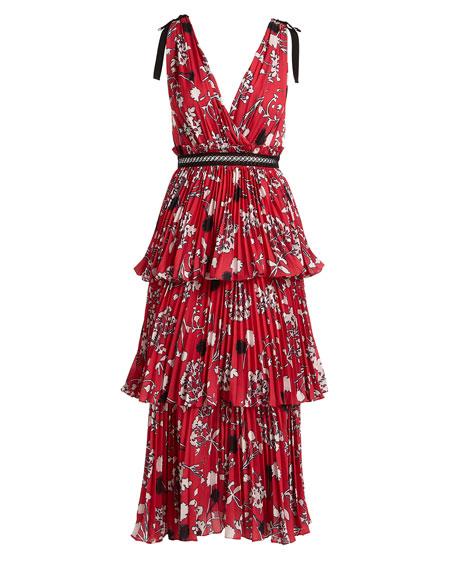 Tiered Floral Crepe de Chine Midi Dress