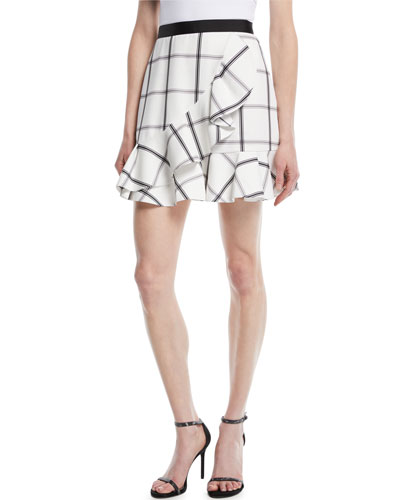 Monochrome Check Frill Skirt