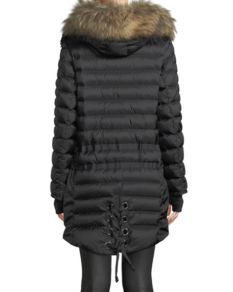 Debby Down Puffer Coat w/ Removable Fur Trim & Laces