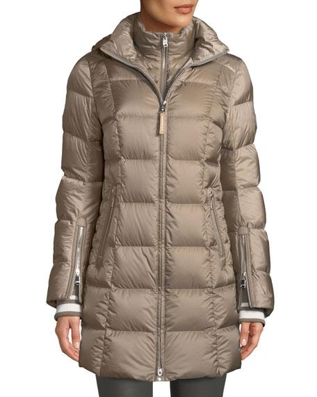 Bogner Rose Down-Filled Puffer Coat w/ Detachable Hood, WET SAND