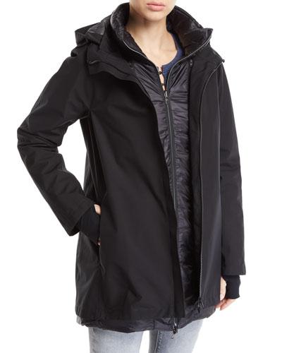 3-in-1 Padded Rain Coat w/ Hood
