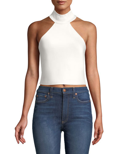 Halina High-Neck Crop Top