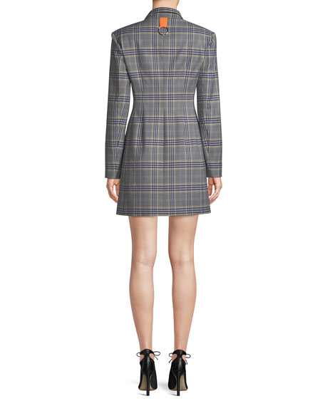 Lucas Double-Breasted Plaid Suiting Blazer Dress