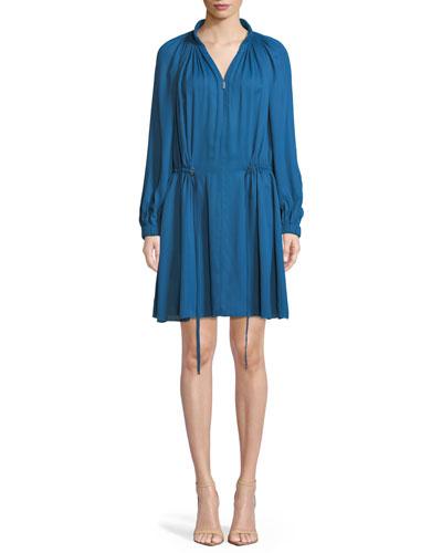 Gathered Drawstring Zip-Front Short Dress