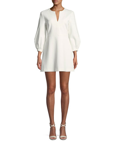 Split-Neck Pouf-Sleeve Knit Mini Dress