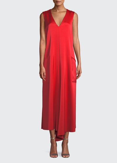 Sleeveless Bonded Satin Long Cocktail Dress