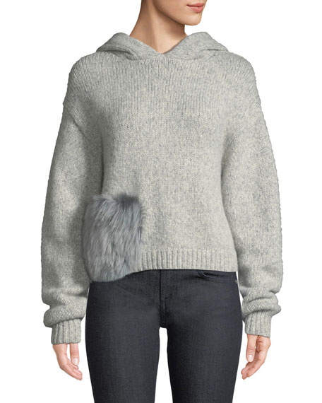 Alpaca Fur-Pocket Hooded Pullover Sweater, Gray