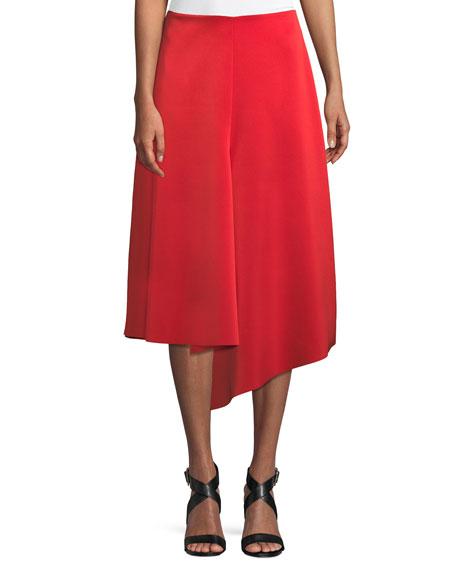 Tibi Draped A-Line Satin Midi Skirt, RED