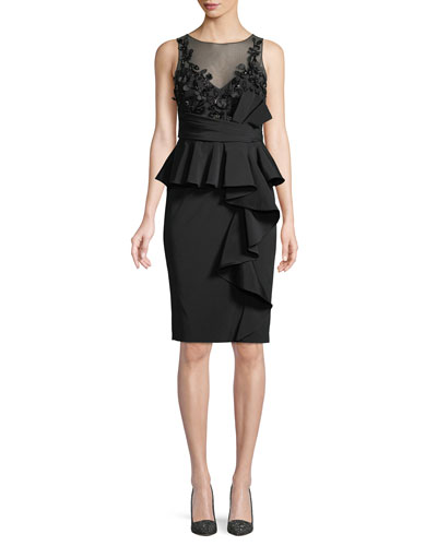 Little Black Cocktail Dress w/ Asymmetric Ruffle Skirt