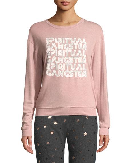 SPIRITUAL GANGSTER Savasana Retro Graphic Pullover Sweater in Rose Quartz