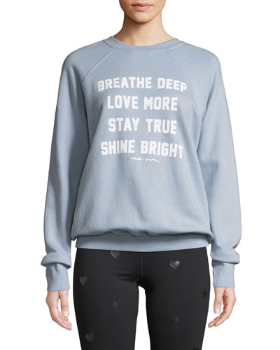Breathe Deep Slogan Crewneck Pullover Sweatshirt