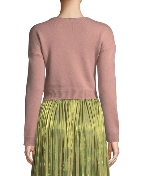 Wool V-Neck Sweater with Bow Detail