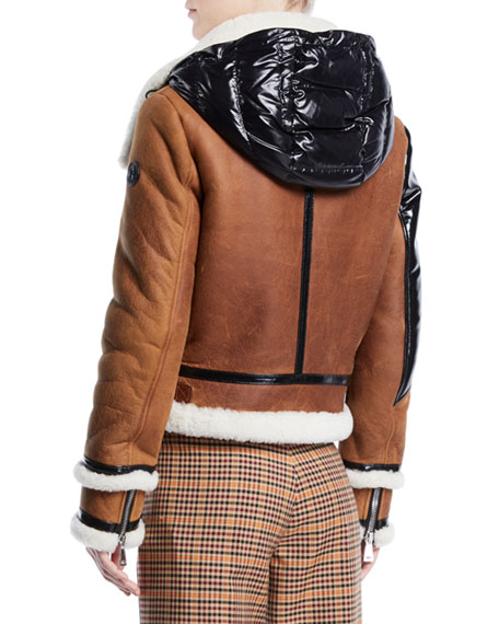 Crabier Mixed-Media Leather Jacket w/ Contrast Hood