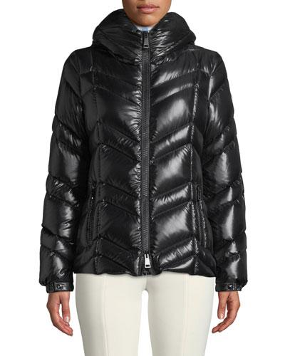 Fuligule Chevron Puffer Coat w/ Hood