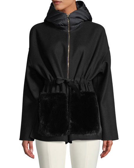 Moncler Anglefur Anorak Jacket w/ Quilted Hood &