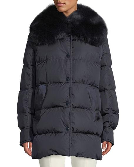Moncler Mesange Puffer Coat w/ Fur Collar