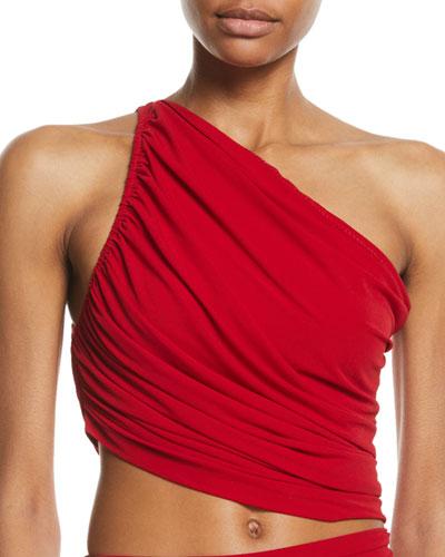 Diana One-Shoulder Shirred Bikini Top