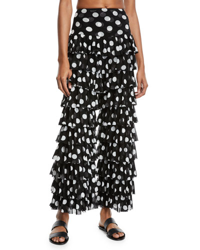 Tiered Polka-Dot Ruffle Coverup Pants