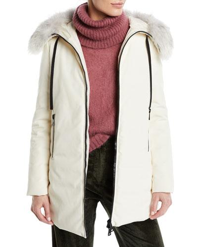 Bartamifur Parka Coat w/ Removable Fur-Trim Hood