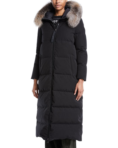 Bernache Long Puffer Coat w/ Hood & Fur Trim