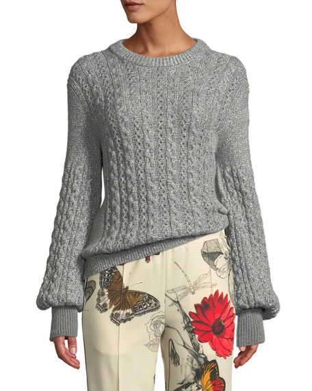 Cable-Knit Alpaca Tricot Pullover Sweater