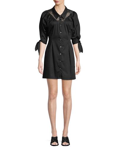 Button-Down Sateen Lace Mini Shirtdress