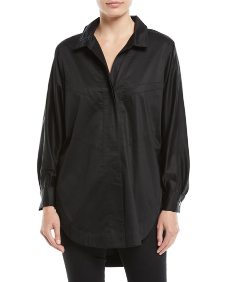 Opening Ceremony Long-Sleeve Button-Down Sateen Oversized Shirt
