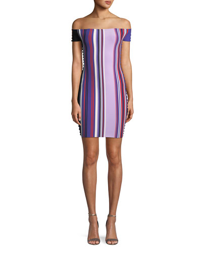 Striped Off-the-Shoulder Scalloped-Trim Dress