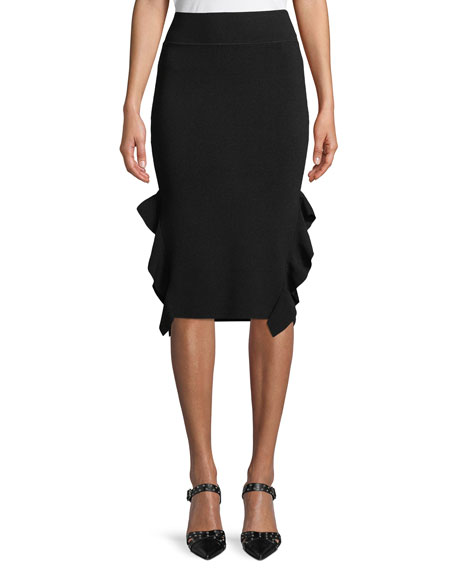 Knee-Length Flounce Pencil Skirt