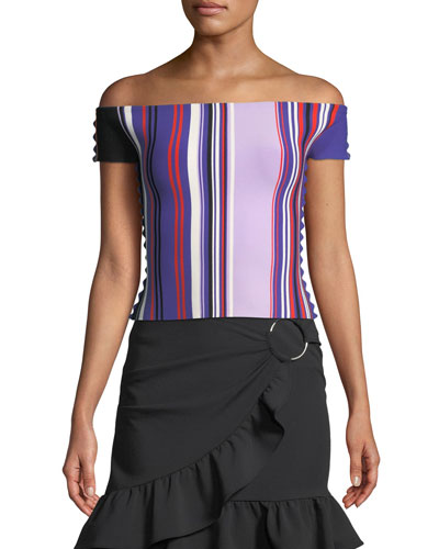 Striped Off-the-Shoulder Scalloped-Trim Top