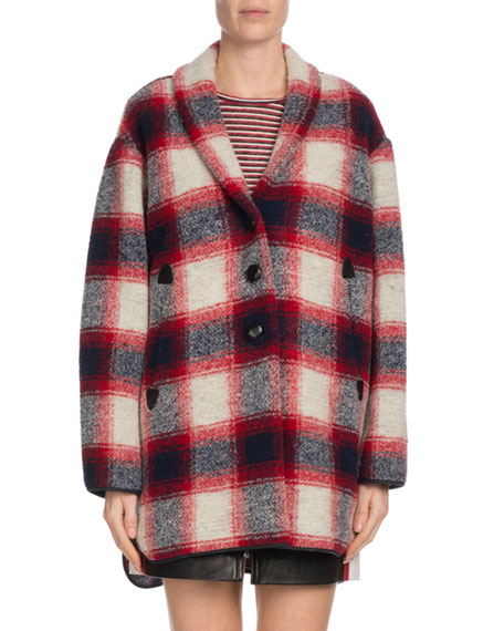 4109ad72e7dd4e Etoile Isabel Marant Gabrie Plaid Wool-Blend Coat
