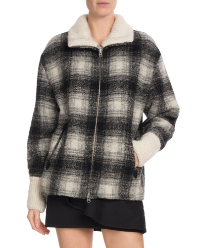Gimo Plaid Wool Zip-Front Coat
