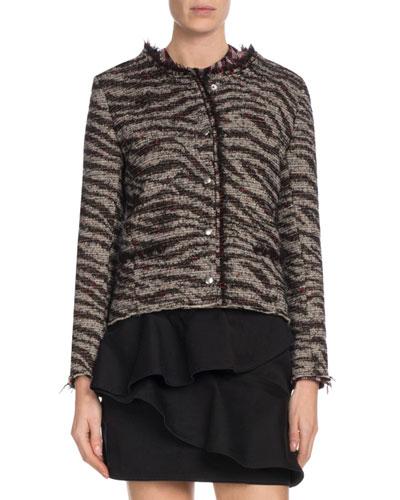 Lycia Snap-Front Zebra-Print Wool Jacket