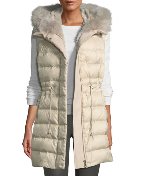 Quilted Hooded Sport Puffer Vest w/ Fur Lining