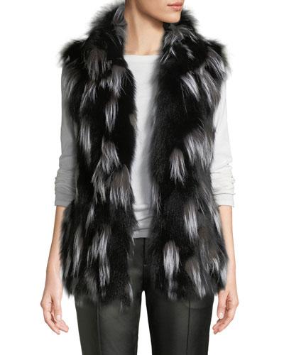 Fox Fur Stand-Collar Vest